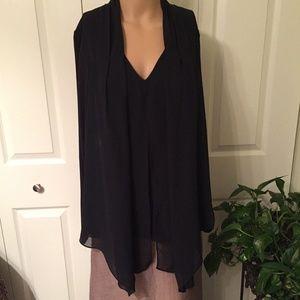 Vince Camuto black chiffon sheer front blouse